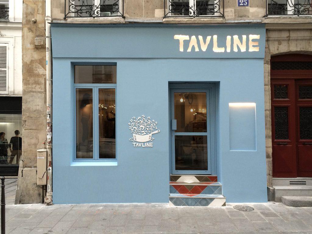 The blue facade of TAVLINE │ Courtesy of TAVLINE