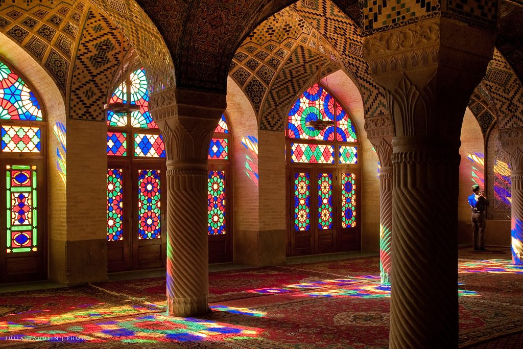 Light streams through the stained glass of Nasir ol-Molk mosque | © Julia Maudlin / Flickr
