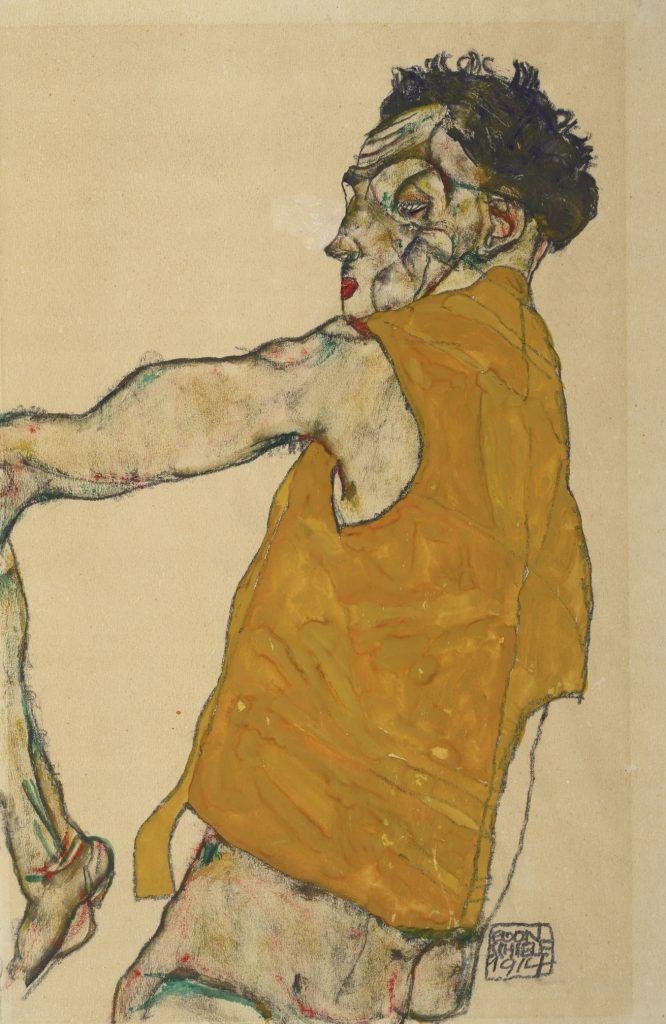 Egon Schiele, Self-Portrait in Yellow Vest, 1914. Albertina, Vienna.