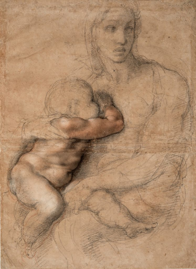 Michelangelo Buonarroti (Italian, Caprese 1475–1564 Rome) Unfinished cartoon for a Madonna and Child 1525–30 Drawing, black and red chalk, white gouache, brush and brown wash 21 5/16 x 15 9/16 in. (54.1 x 39.6 cm) Casa Buonarroti, Florence