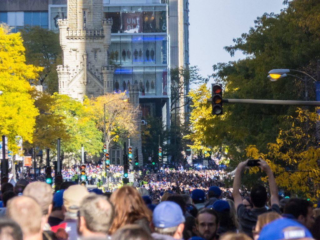 The 2016 World Series victory parade on N Michigan Ave | © Sean Benham/Flickr