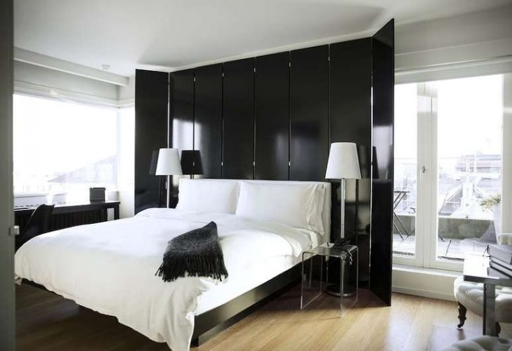 The rooms at 101 hotel feature black-and-white decor throughout