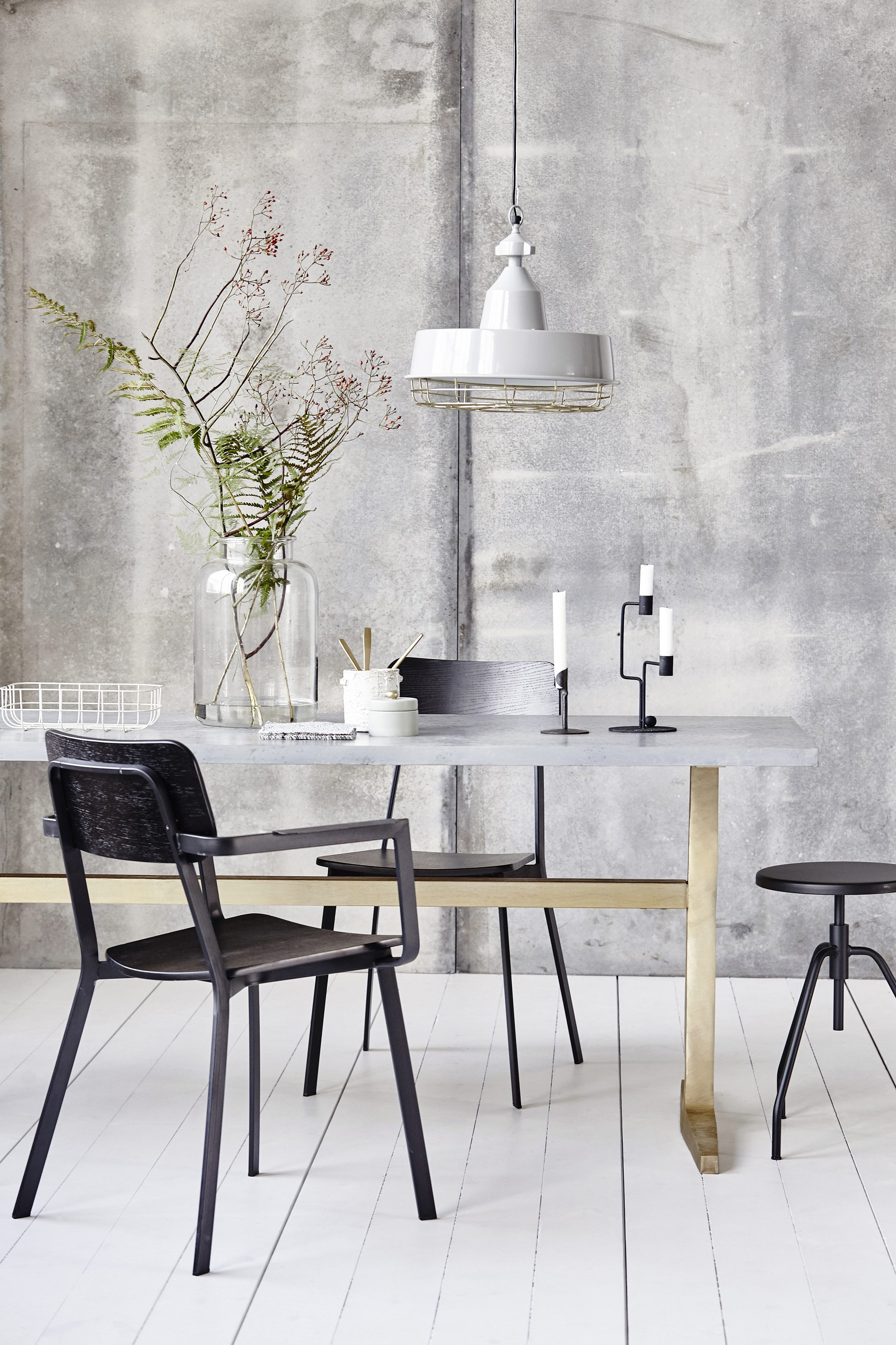 Dining Table with Zinc Top and Brass Legs by House Doctor | © ARBOL House