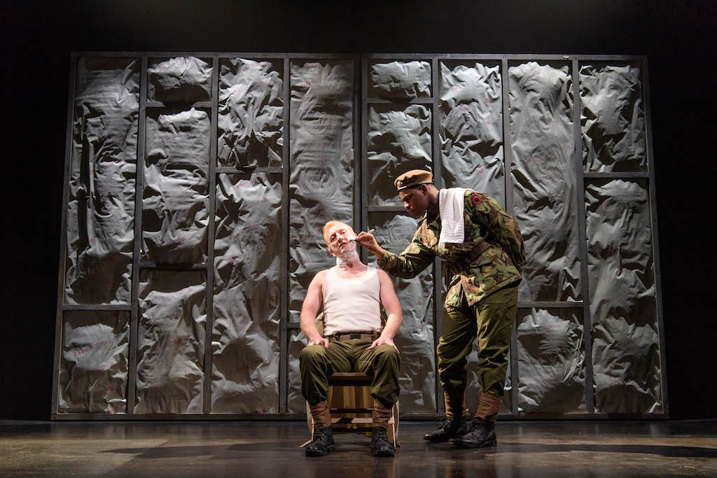 John Boyega as Woyzeck, Stefan Rhodri as the Captain | © Old Vic