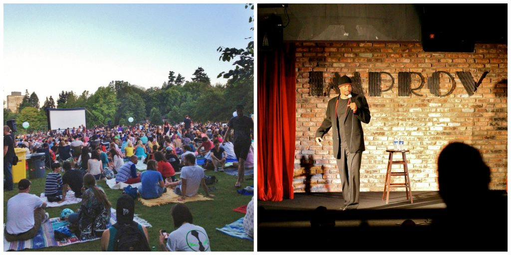 Outdoor Movie | Heather Harvey/Flickr / Standup Comedy | Damon Wayons/WikiCommons