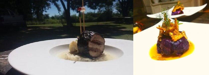 La Torgnole Gastronomique's rabbit with seaweed and ginger-infused risotto (left), and purple cabbage wrap stuffed with potatoes, pork and sausage confected in duck fat and Dijon velvet (right) | Courtesy of La Torgnole Gastronomique
