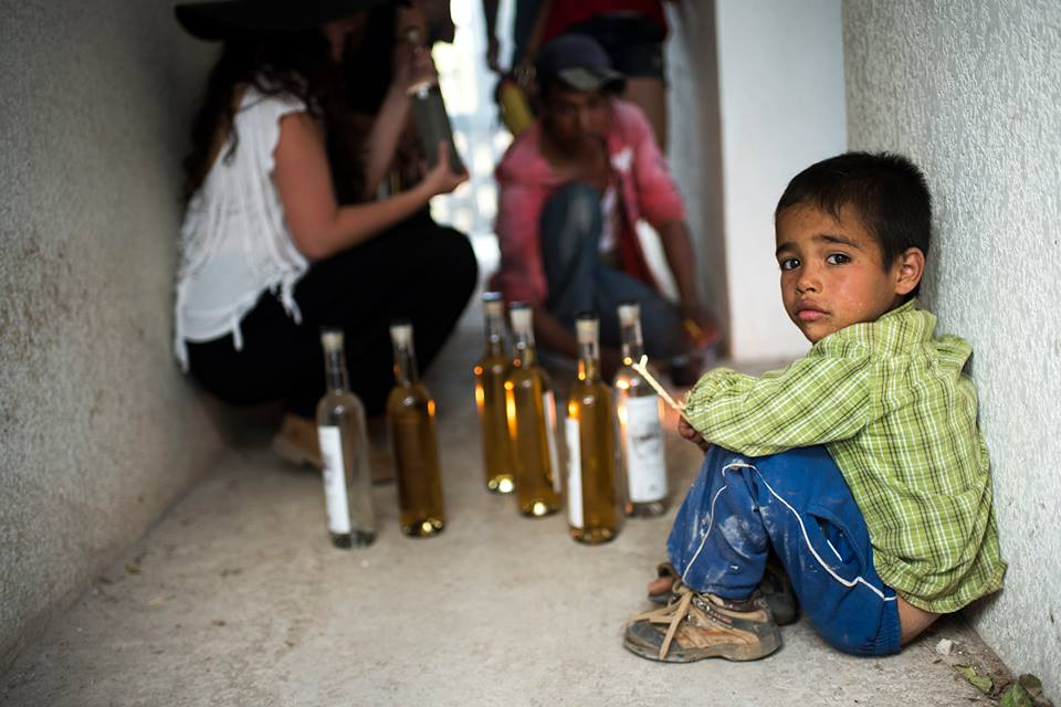 Little boy watches as the mezcal is bottled   © Cantimplora Travel