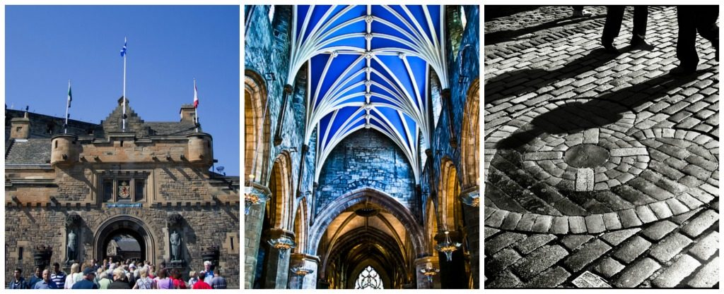 Edinburgh Castle | © Ian Dick/Flickr // St. Giles Cathedral Vaulted Ceiling | © Gary Ullah/Flickr // Heart Of Midlothian | © Neal Fowler/Flickr