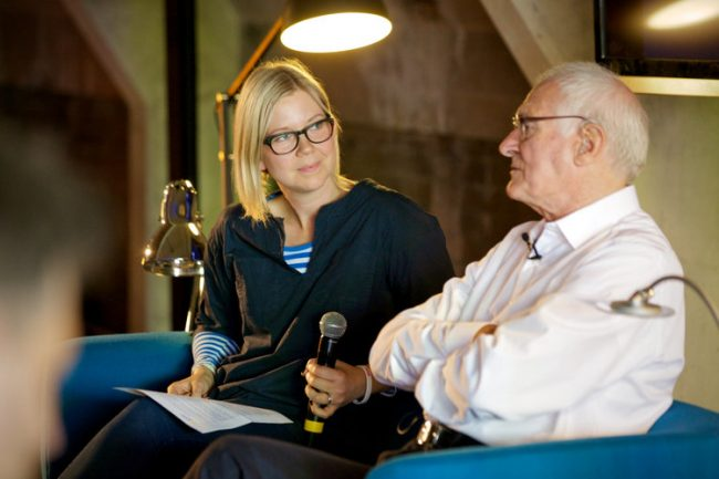 Katie Treggiden in conversation with designer Kenneth Grange | Courtesy of Katie Treggiden