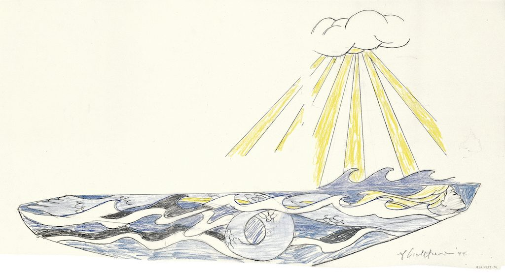 Roy Lichtenstein, 'Young America' mermaid sailboat study (1994). Courtesy of the Middlebury College Museum of Art.