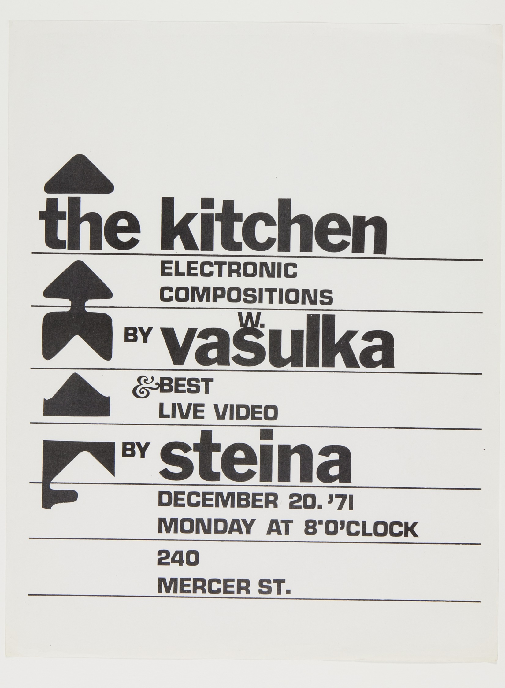 Early Flyer from The Kitchen | Courtesy of The Vasulka Chamber