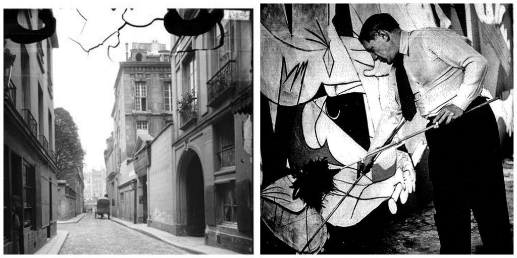 7-9 Rue des Grands-Augustins │© Eugène Atget / Wikimedia Commons ; Picasso painting Guernica (1937) │© Recuerdos de Pandora / Flickr