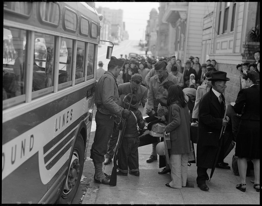 The Japanese quarter on the first day of evacuation, April 29, 1942 | Dorothea Lange for Anchor Editions / Flickr