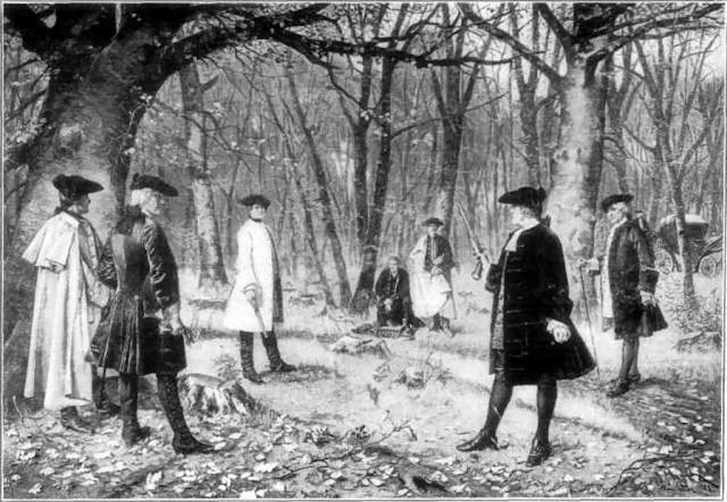 An interpretation of the duel between Alexander Hamilton and Aaron Burr (1804) | rendered from a painting by J. Mund / Wikimedia Commons