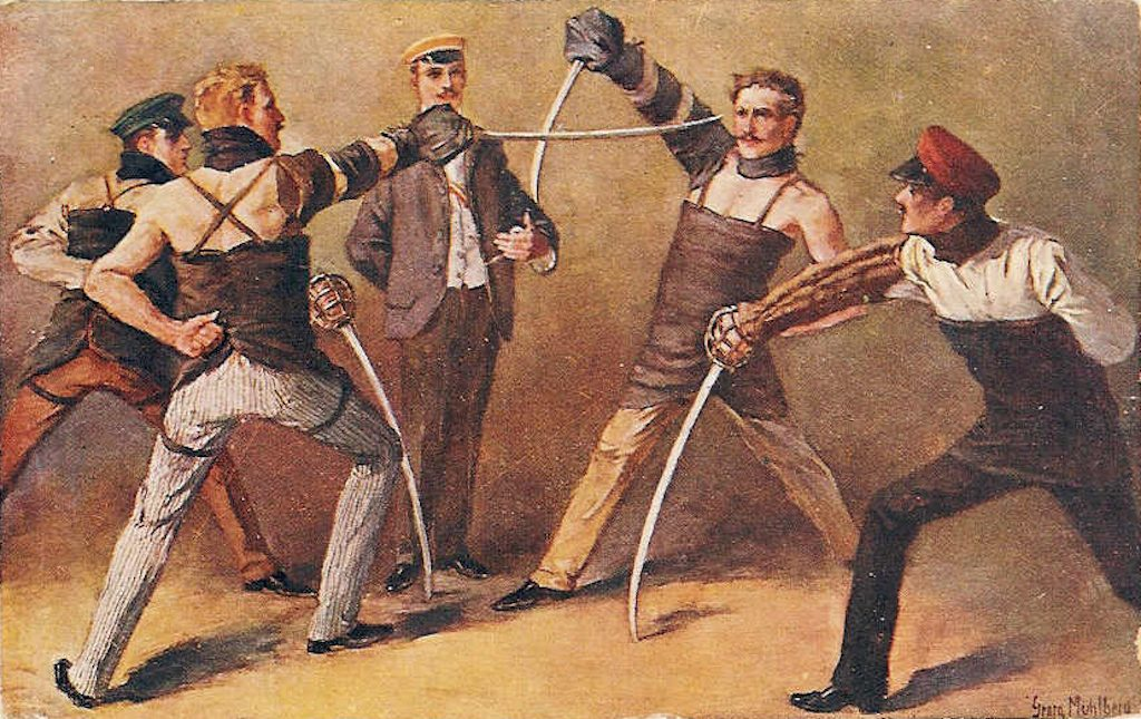 """Säbelmensur"", sabre duel among German students, 1900 
