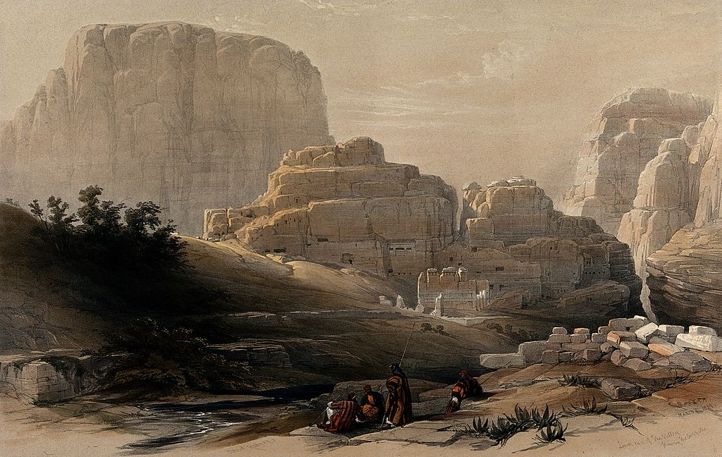 """Lower end of the valley showing the Acropolis, Petra"" (1839), lithograph by Louis Haghe after David Roberts, 1849 