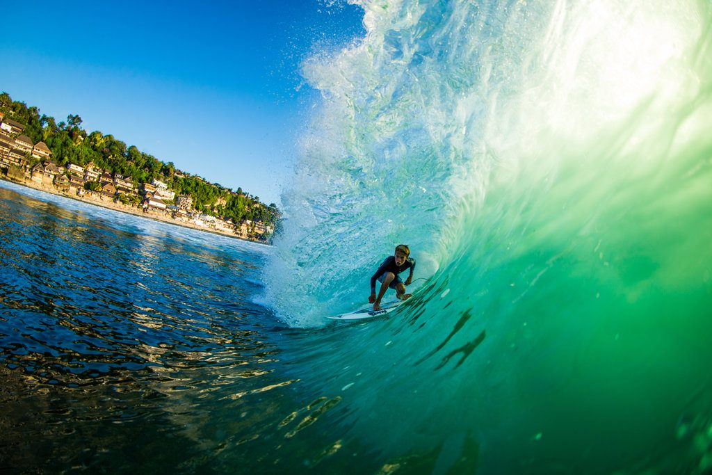 Nolan Rodgers, 15, catches barrel in Bali | © Luke Forgay/Volcom