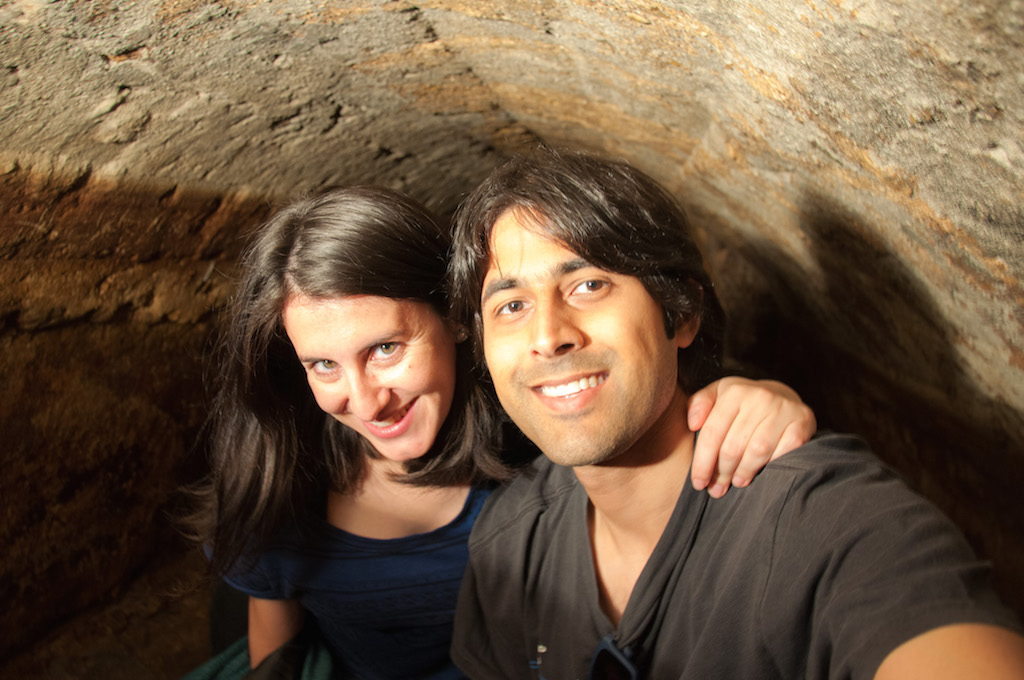 Ashray and Zara from BackpackMe inside Lisbon's Roman Tunnels | Courtesy of Zara Quiroga