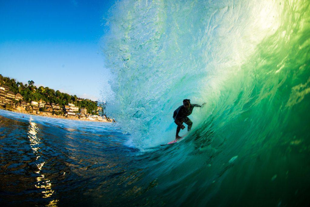 Muklis Anwar getting barreled in Bali | © Luke Forgay/Volcom