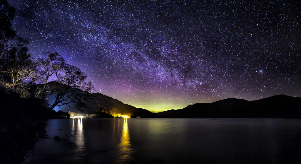 The Milky Way And Aurora Over Loch Lomond
