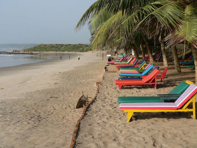 Bright beach loungers, Ghana