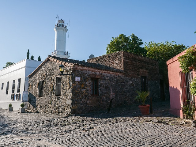 Lighthouse and cobbled stones at Colonia del Sacramento, Colonia, Uruguay