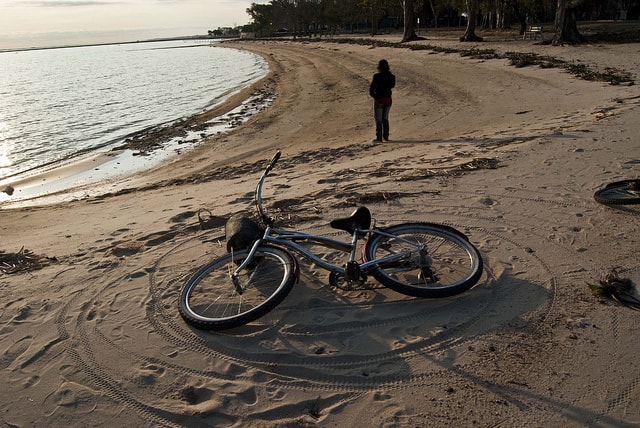 Beach with a bicycle at Carmelo, Uruguay