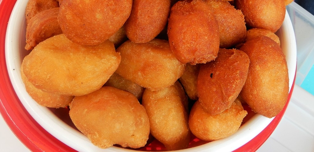 Buñuelos are a dessert made of deep fried balls of yuca dough