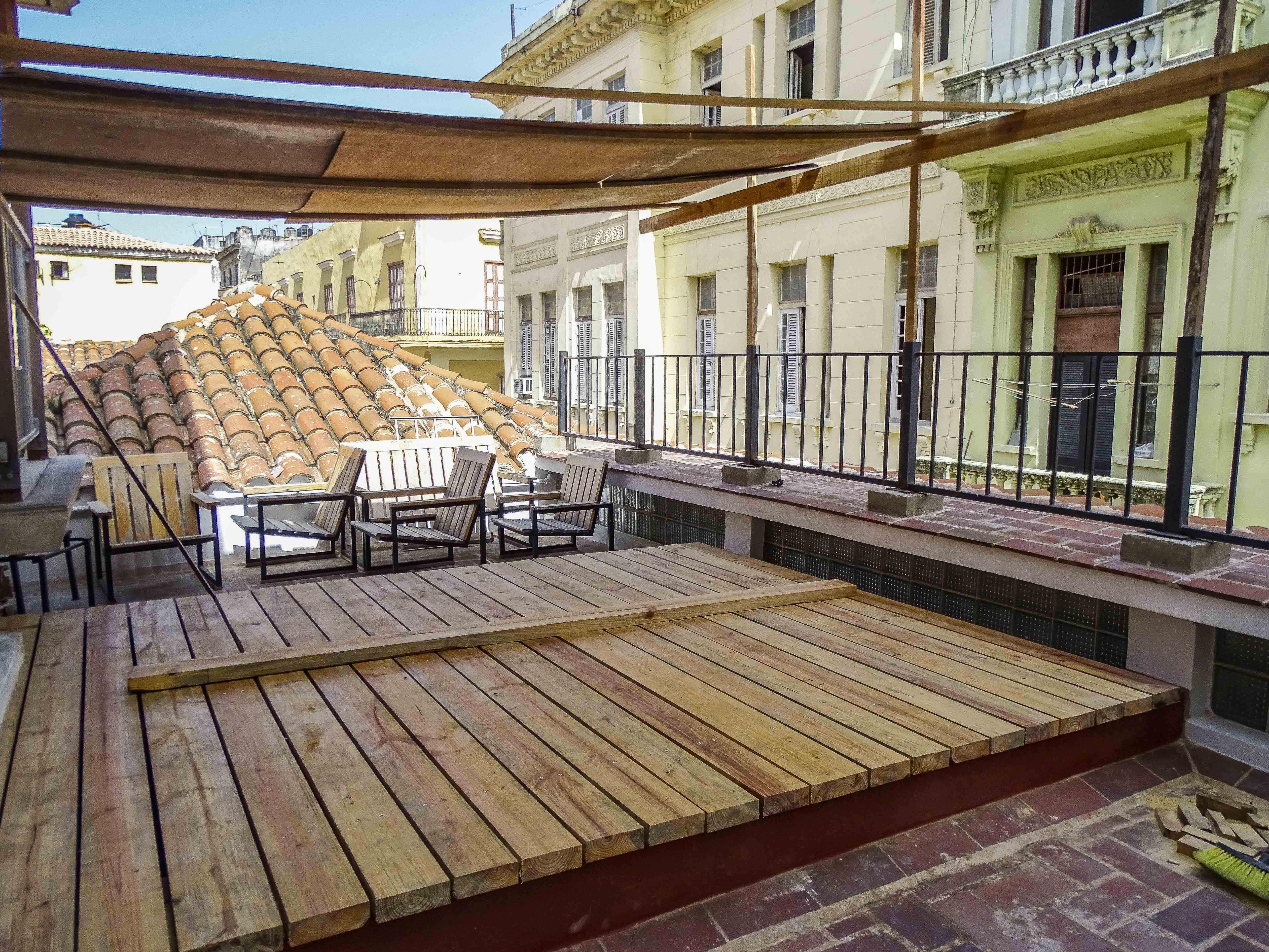 Restored outdoor area in a historical structure in Old Havana   © Amber C. Snider