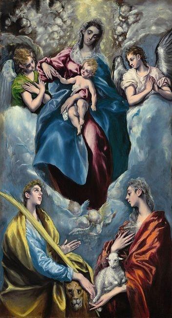 El Greco, 'Madonna and Child with Saint Martina and Saint Agnes', circa 1598 | WikiCommons