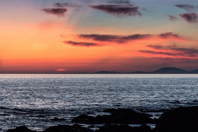 Sunset on the beach in Punta del Este, Uruguay