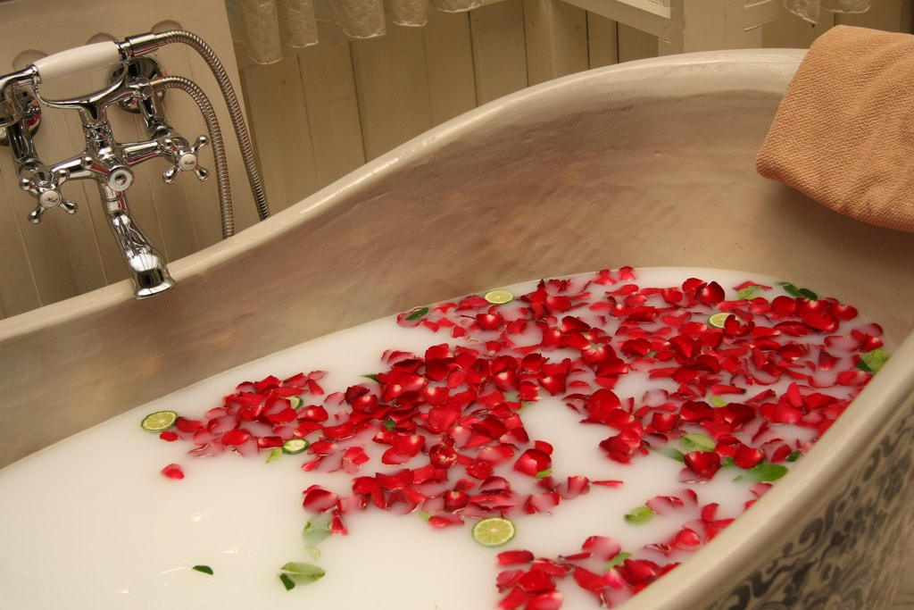 Bubbles and rose petals