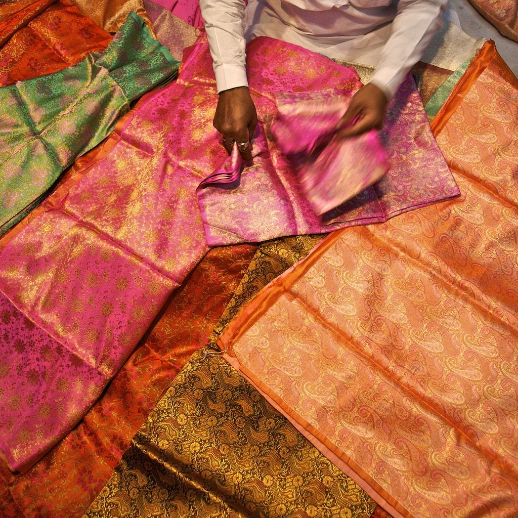 Sari Cloth Seller in Chandni Chowk