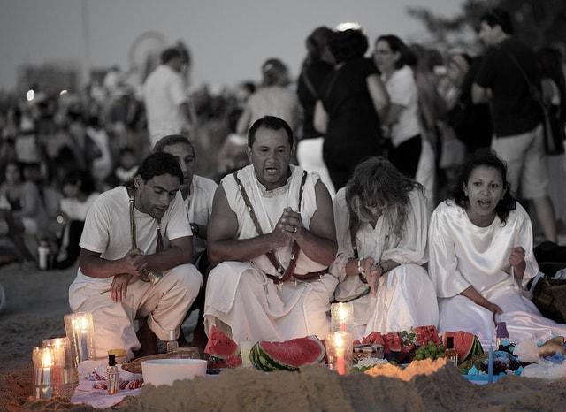 Iemanjá celebrations on the beach, Uruguay
