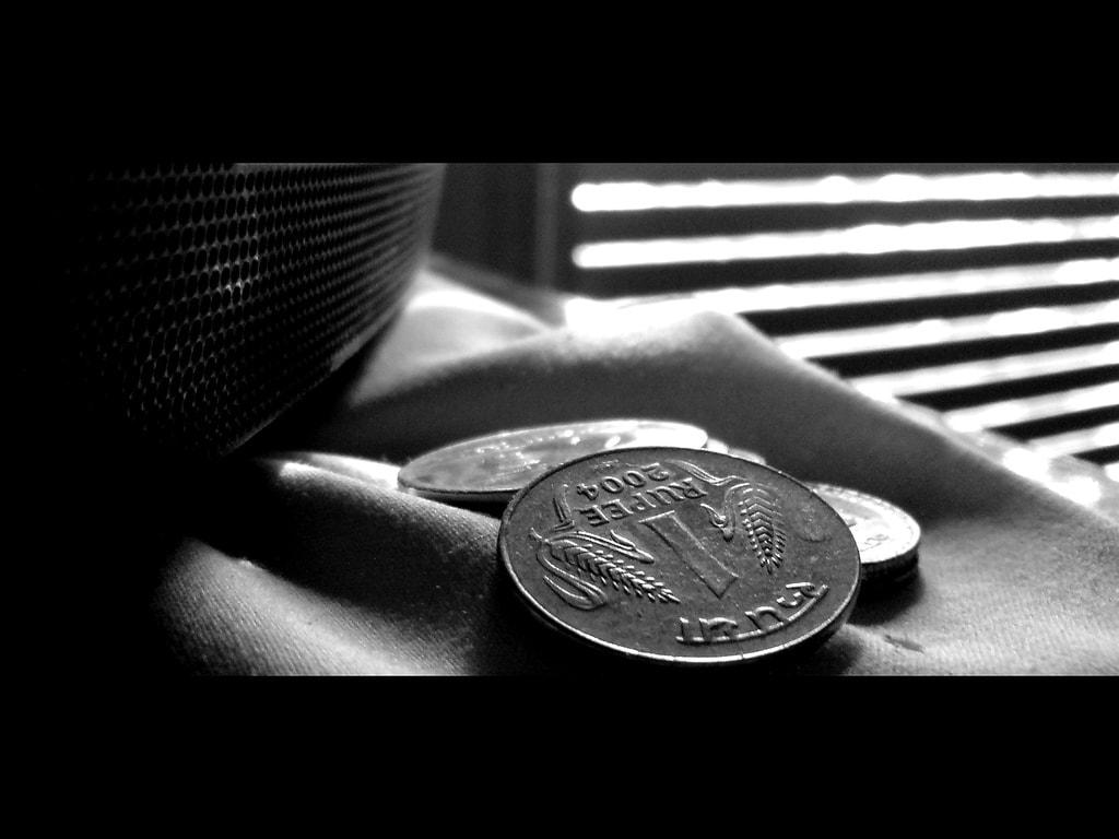 A one rupee coin