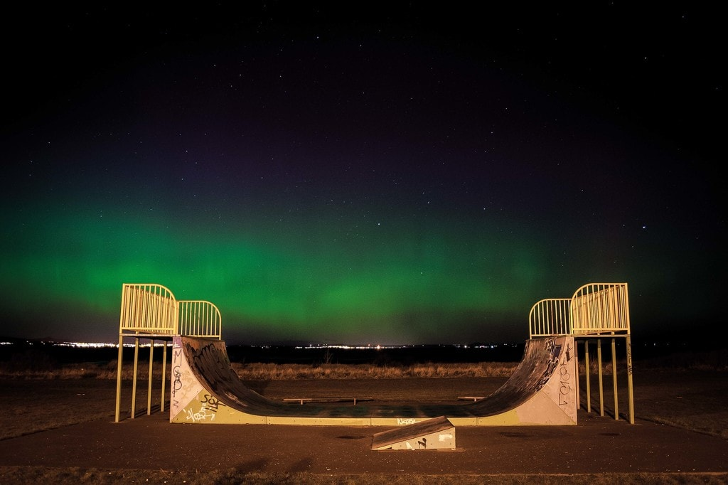 Andrew Bulloch, Skatepark under the Northern Lights Musselburgh, East Lothian, Scotland 2017 | Courtesy of Landscape Photographer of the Year 2017