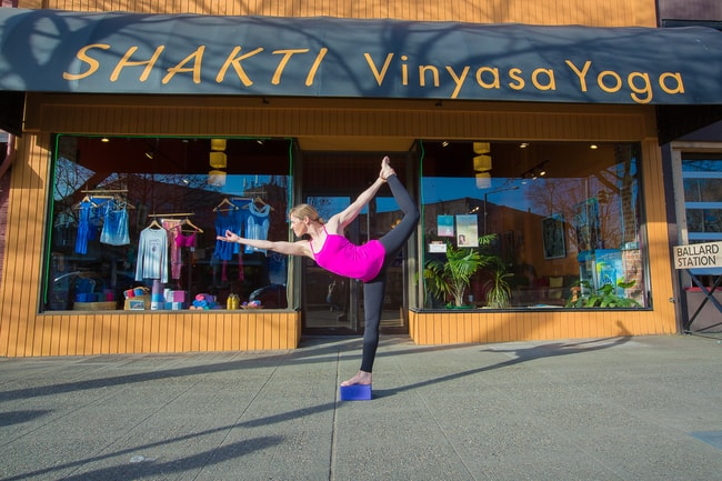 Lisa Black in Front of Shakti Vinyasa Yoga | Photo Credit, Tony F Photography