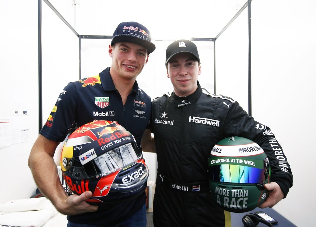 Dutch DJ Hardwell (R) and Red Bull's Max Verstappen at the 2017 Mexican Grand Prix