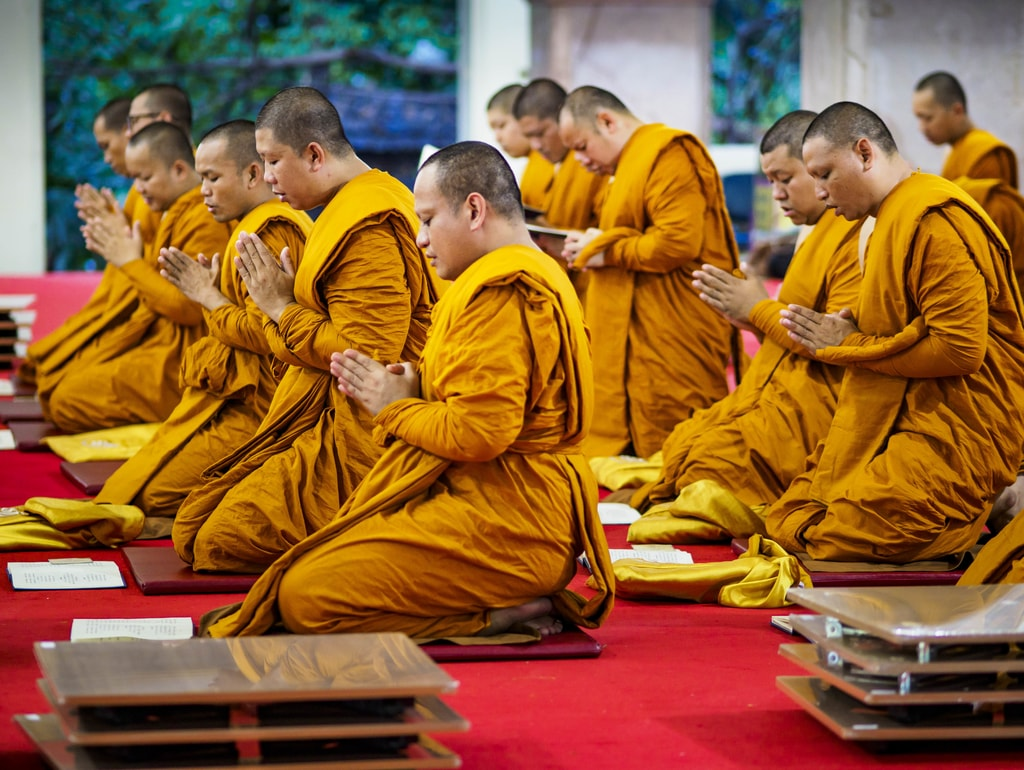 A group of monks saying a prayer for the late king on the day of the cremation | © Sean Edison/ZUMA Wire/REX/Shutterstock