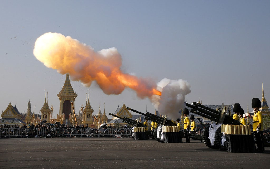 Artillery fire salutes at the start of the royal cremation ceremony in Bangkok | © Rungroj Yongrit/EPA-EFE/REX/Shutterstock