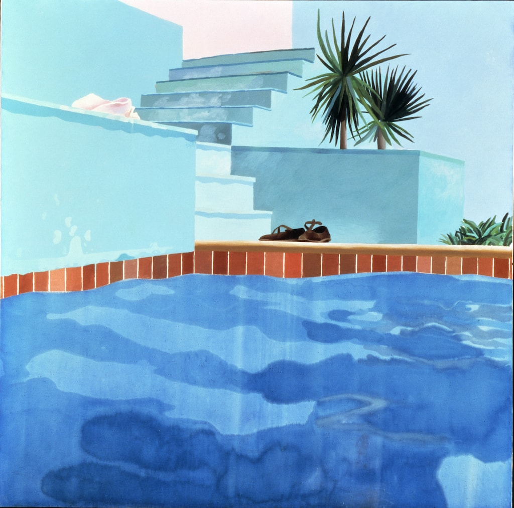 David Hockney, 'Pool and Steps, Le Nid du Duc', 1971 | © David Hockney