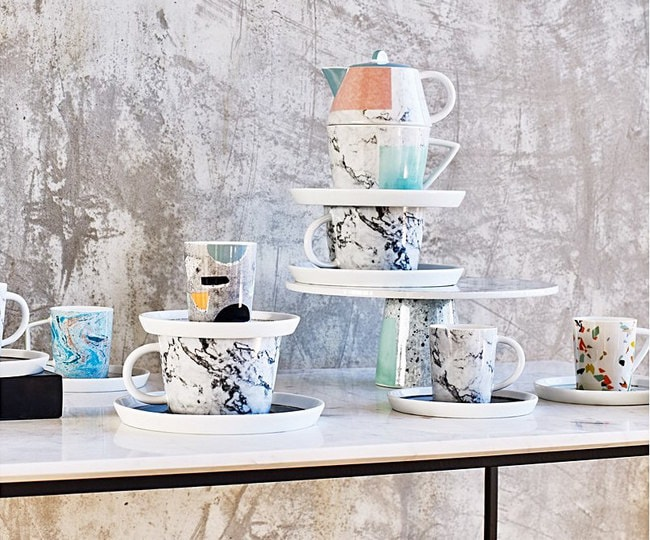 Carrara Set of Two Marble Teacups & Saucers | Courtesy of Oliver Bonas