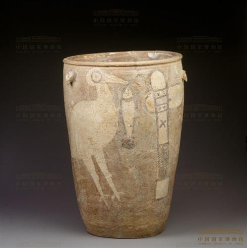 2 Jar Showing a Stork with a Fish and a Stone Axe