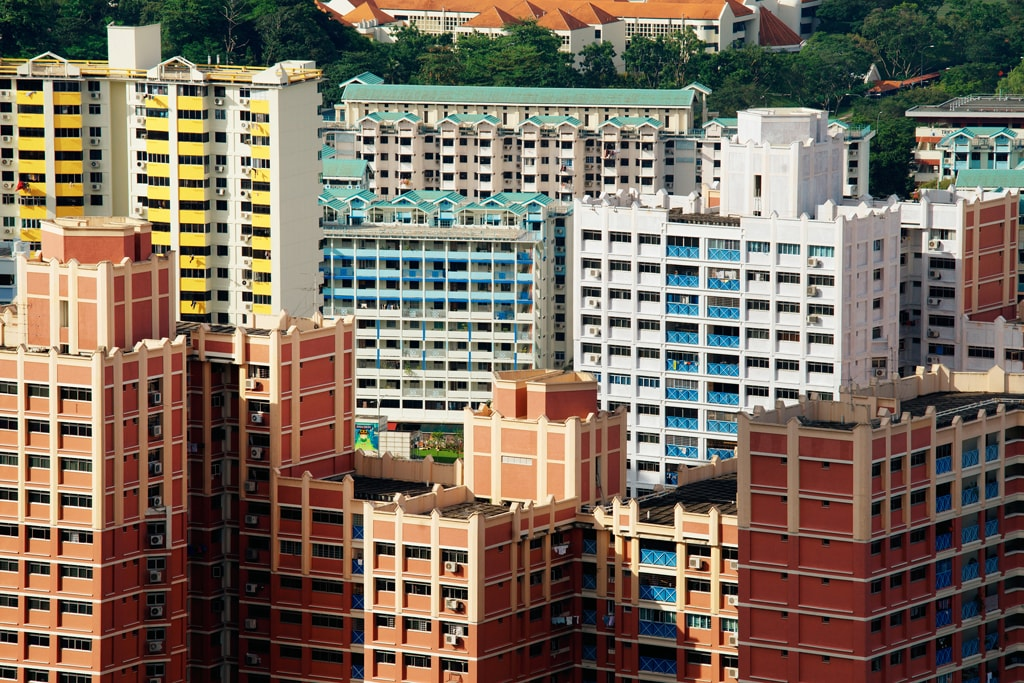 Aerial view of neighbourhood HDB blocks
