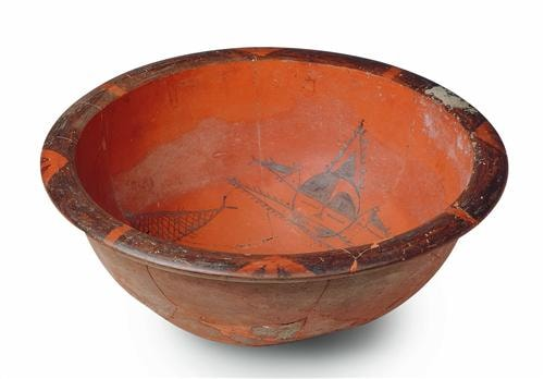3 Basin with a Fish Pattern with a Human Face