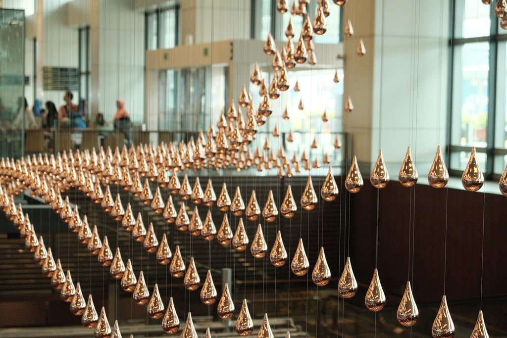Iconic Teardrop Installation In Changi Airport