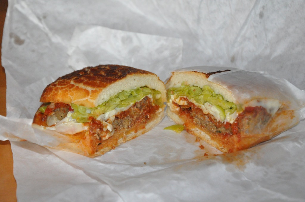 Delicious meatball sandwich with banana peppers, served in Dutch Crunch bread | © eric molina / Flickr