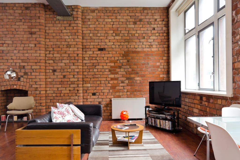 Exposed red brick apartment in Liverpool