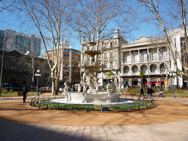 A fountain in a square of Ciudad Vieja