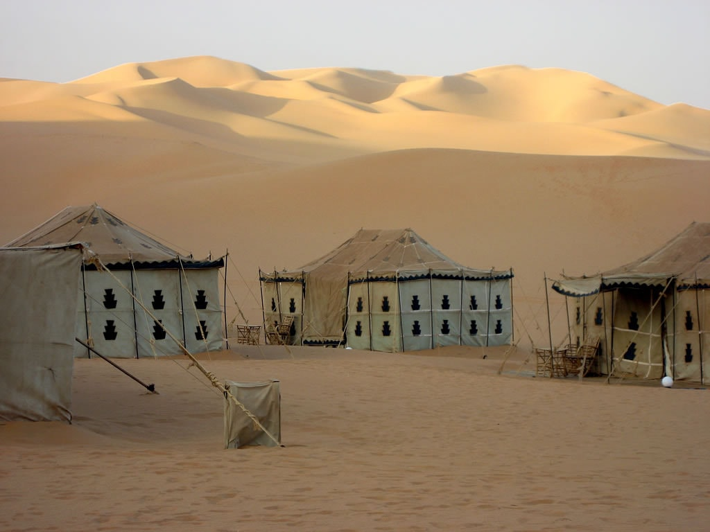 Tents in the Sahara Desert